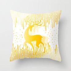 Dancing Deer  - Golden Throw Pillow