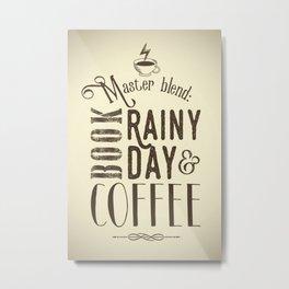 Coffee, book & rainy day II Metal Print