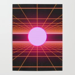 Retro 80s Grid 'Into the Void' Poster