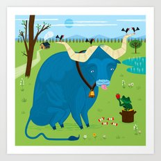 The Ox and The Frog Art Print