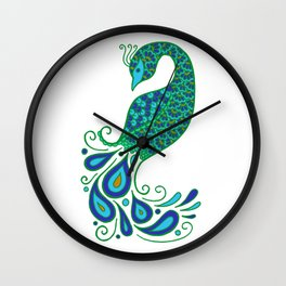 Blue and Green Peacock Wall Clock