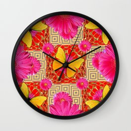 Red Art Design of Butterflies Fuchsia Gerbera Flower  Patterns Art Wall Clock