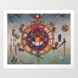 Tibetan Blood-letting Chart Art Print