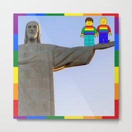 Rio Mini Figures LGBT PRIDE Brazil Jesus Metal Print