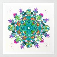 Turquoise dream Mandala  Art Print