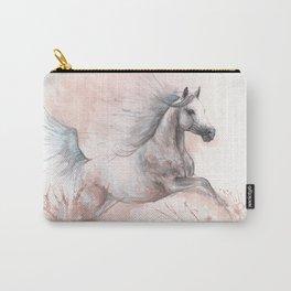 Running  arabian horse watercolor art Carry-All Pouch