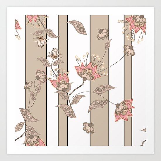 Retro . Floral pattern on a beige striped background . Art Print