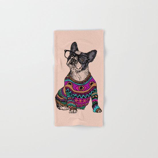 hipster frenchie Hand & Bath Towel
