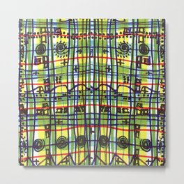 Bizarre Spacy Plaid Metal Print
