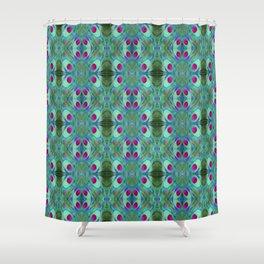 Jade - Art Nouveau Ethno Feathers Pattern Shower Curtain