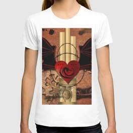 Heart with dragon and wings T-shirt