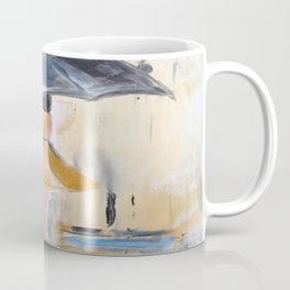 Beautiful Lady in Yellow in the Rain on Canvas Coffee Mug