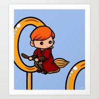 quidditch Art Prints featuring Quidditch Keeper by Nitya Chirravur