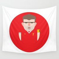 liverpool Wall Tapestries featuring Steven Gerrard Liverpool Illustration by Gary  Ralphs Illustrations
