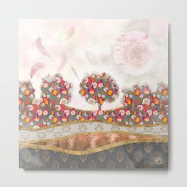 Falling Feathers & Roses - autumn palette Metal Print
