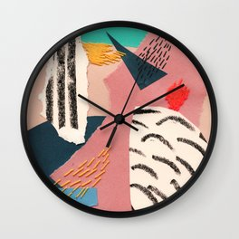 abstract collage with embroidery Wall Clock