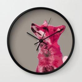 FOX, PINK FOX, PINK FOX WALL ART, CUTE FOX, FOX FACE, FOX IN PINK, WINTER FOX, Wall Clock