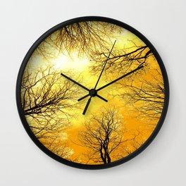 Black Trees Golden Sky Wall Clock