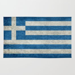 Flag of Greece, vintage retro style Rug