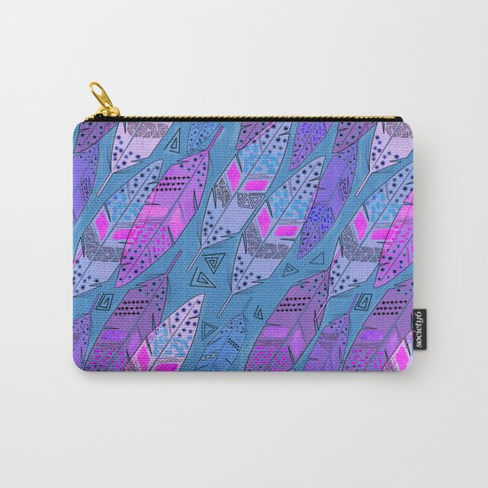 The colorful feathers on blue background . Carry-All Pouch