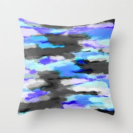 purple blue and black painting texture abstract background Throw Pillow