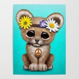 Cute Baby Lion Cub Hippie Poster