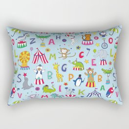 Circus Animal Alphabet - multi on pale blue Rectangular Pillow