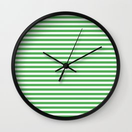 Even Horizontal Stripes, Green and White, S Wall Clock
