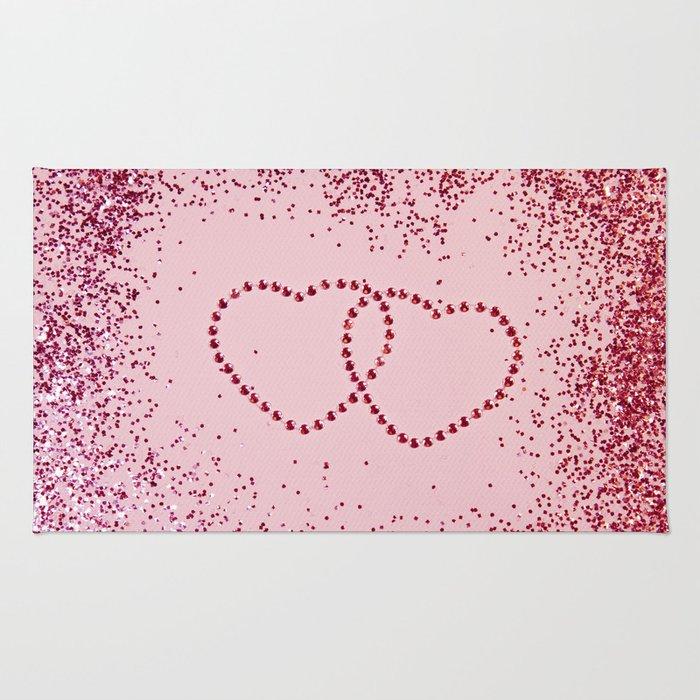 In Love Sparkling Glitter Hearts #2 #red #decor #art #society6 Rug