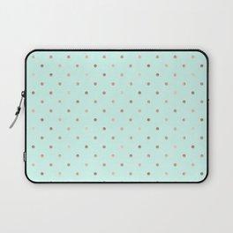 Mint & Rose Gold Polka Dot Pattern Laptop Sleeve