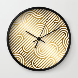 Art Deco Gold and White Geometric Ornate Pattern Wall Clock