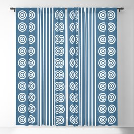 Geometric Stripes and Circles - White on Blue Blackout Curtain