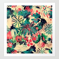 jungle Art Prints featuring Jungle by Demi Goutte