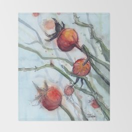 Rose Hips Abstract Watercolor Nature Throw Blanket