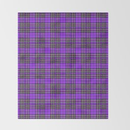 Lunchbox Purple Plaid Throw Blanket