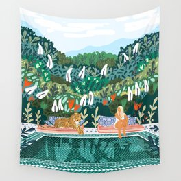 Chilling || #illustration #painting Wall Tapestry