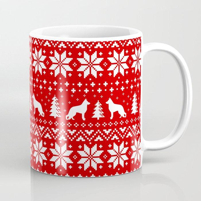 German Shepherd Christmas Sweater.German Shepherd Dog Silhouettes Christmas Sweater Pattern Coffee Mug By Mylifeisacartoon