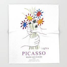 Picasso Exhibition - Mains Aus Fleurs (Hands with Flowers) 1958 Artwork Throw Blanket
