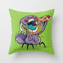 Om Nom Alien Bug Throw Pillow