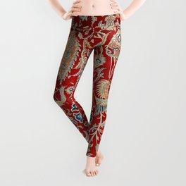 Turkey Hereke Old Century Authentic Colorful Royal Red Blue Blues Vintage Patterns Leggings
