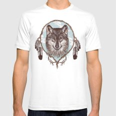 Gray Wolf Mens Fitted Tee MEDIUM White