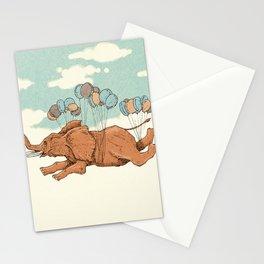 Flying elephant Stationery Cards