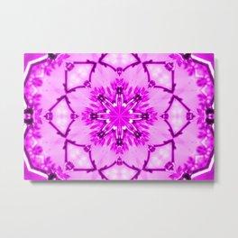 Eastern Redbud And The Bee Kaleidoscope Infrared Neon Pink Metal Print