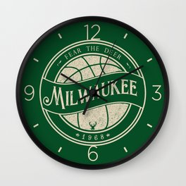 Milwaukee basketball green vintage logo Wall Clock