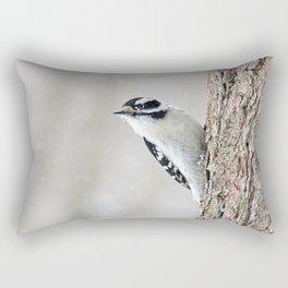 Wintertime Downy Woodpecker Rectangular Pillow
