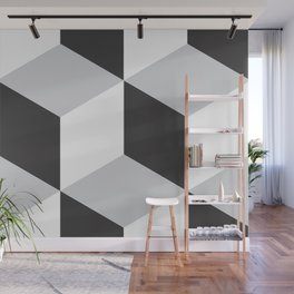 Cubism Black and White Wall Mural