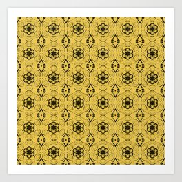 Primrose Yellow Floral Geometric Pattern Art Print