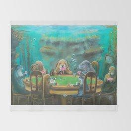 Pinnipeds Playing Poker Throw Blanket