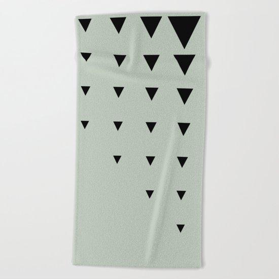 Black Triangles on Grey-Green Beach Towel