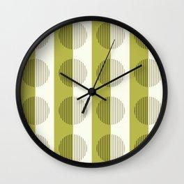 Minimalist Contemporary Lime Green Stripes & Circles - Horizons Series Wall Clock
